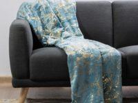 Plush Throw Luxury Collection Aqua Gold
