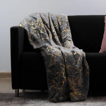 Plush Throw Luxury Collection Grey Gold